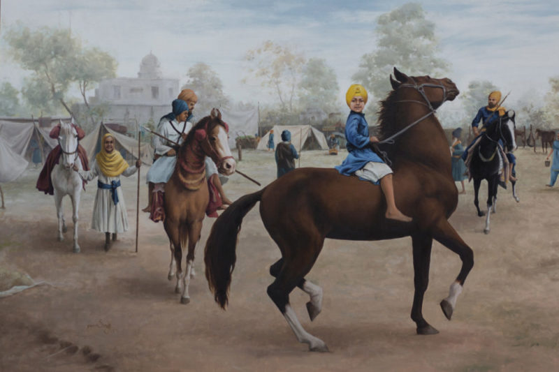 Chaar Bhujhangi 40x60 Inches, Oil on canvas, Parm Singh