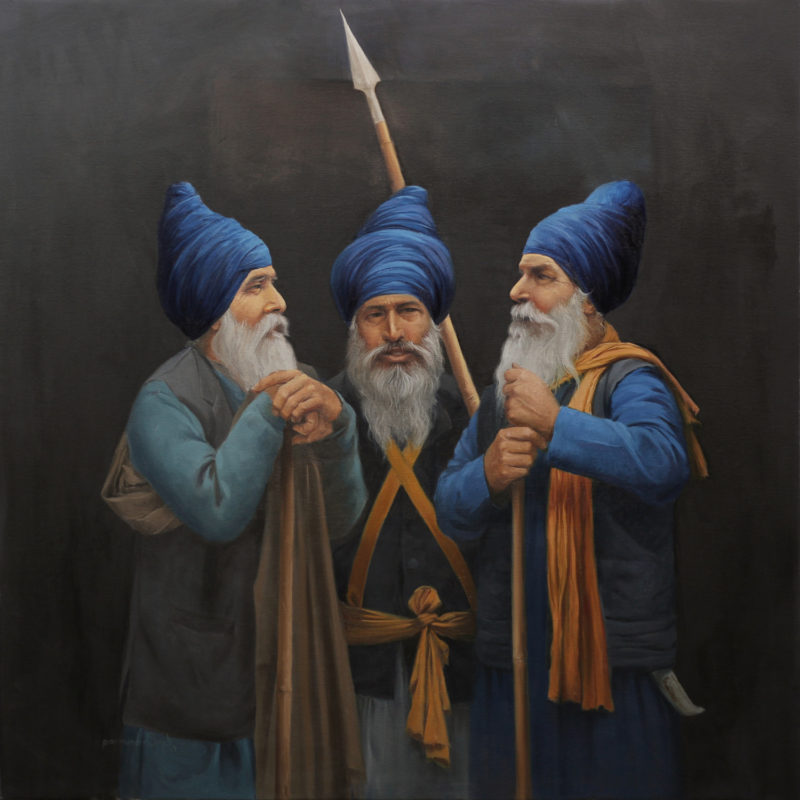 Samvad 30x30 inches, Oil on Canvas, Parm Singh